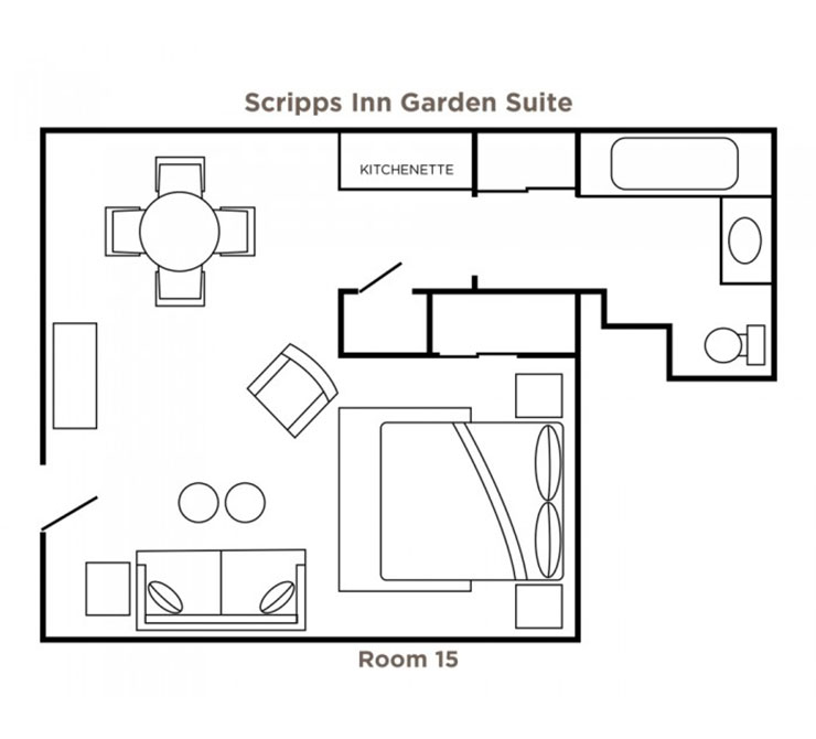Scripps Inn Garden Suite floor plan