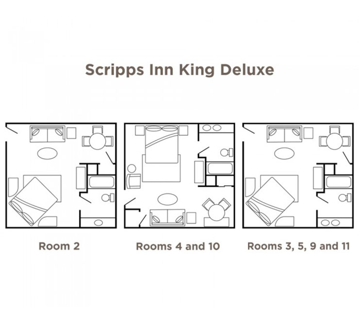 Scripps Inn King Deluxe various floor plans.