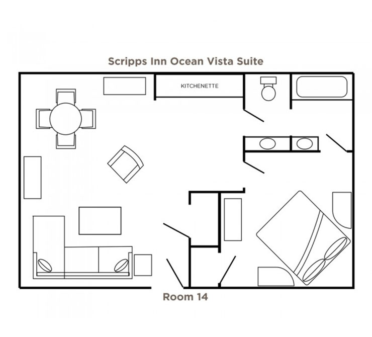 Scripps Inn Ocean Vista Suite floor plan
