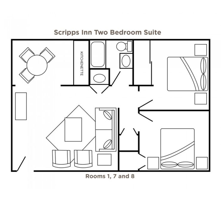 Scripps Inn two bedroom suite floor plan at Scripps Inn