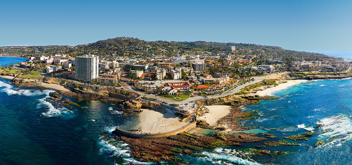 Areial View of La Jolla Cove and Beach in Southern California